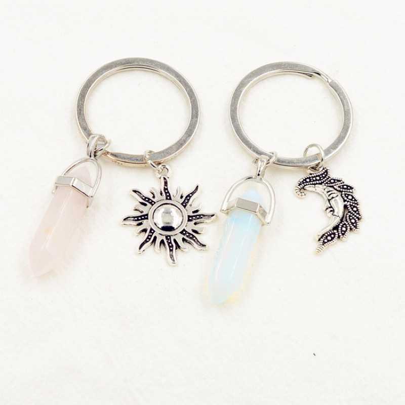 Śliczne dziewczyny naturalny Opal ametyst kamień brelok kobiety sześciokątne kwarcowy różowy kamień breloczki z słońce biżuteria z motywem księżyca prezent dla par