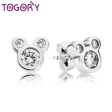 TOGORY Simple encantadora de Mickey Minnie forma pendientes de color plateado brillante Zircon bien Stud pendientes de las mujeres joyería de los niños(China)