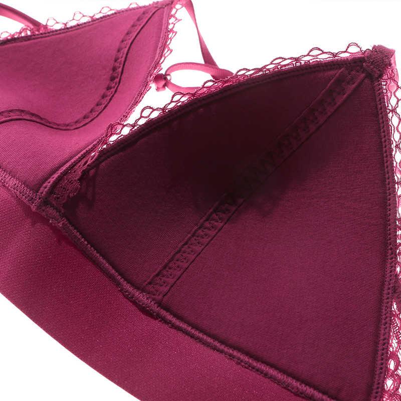 Munllure Cruz beleza de volta bordado cueca conjunto mulheres sutiã de renda copo triângulo sem anel de aço