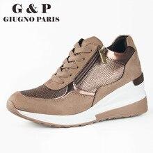 Nowe jesienne trampki damskie buty europejska marka design luksusowe damskie buty klinowe wygodne podeszwy skórzane wkładki