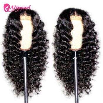 6x6 zamknięcie peruka brazylijski luźne głębokie koronkowa fala przodu włosów ludzkich peruk dla kobiet wstępnie oskubane 150 180 gęstości AliPearl włosów peruki