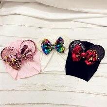 19*20 CM noworodka bawełniane czapki ręcznie błyszczące cekiny Bowknot czapki lśniące uszy Mickey Bonnet przyjęcie świąteczne dekoracje