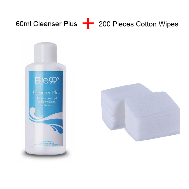 Elite99 Pro Cleanser Plus Removes Excess Gel Enhance With 200pcs Nail Clean Wipes Cotton Paper Shine Sticky Remover Liquid 60ml