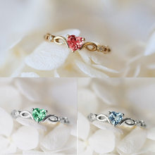 Retro Crystal Heart of Women's Copper Ring Love Heart Shaped Zircon Diamond White K Fashion Jewelry Wedding Anniversary Gift(China)