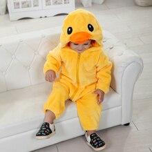 Umorden תינוק צהוב ברווז תלבושות קוספליי Kigurumi קריקטורה בעלי החיים פעוט תינוק סרבל פלנל ליל כל הקדושים תחפושת