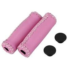 Par de empuñaduras de cuero Vintage para bicicleta cubierta de manillar de trekking color: rosa