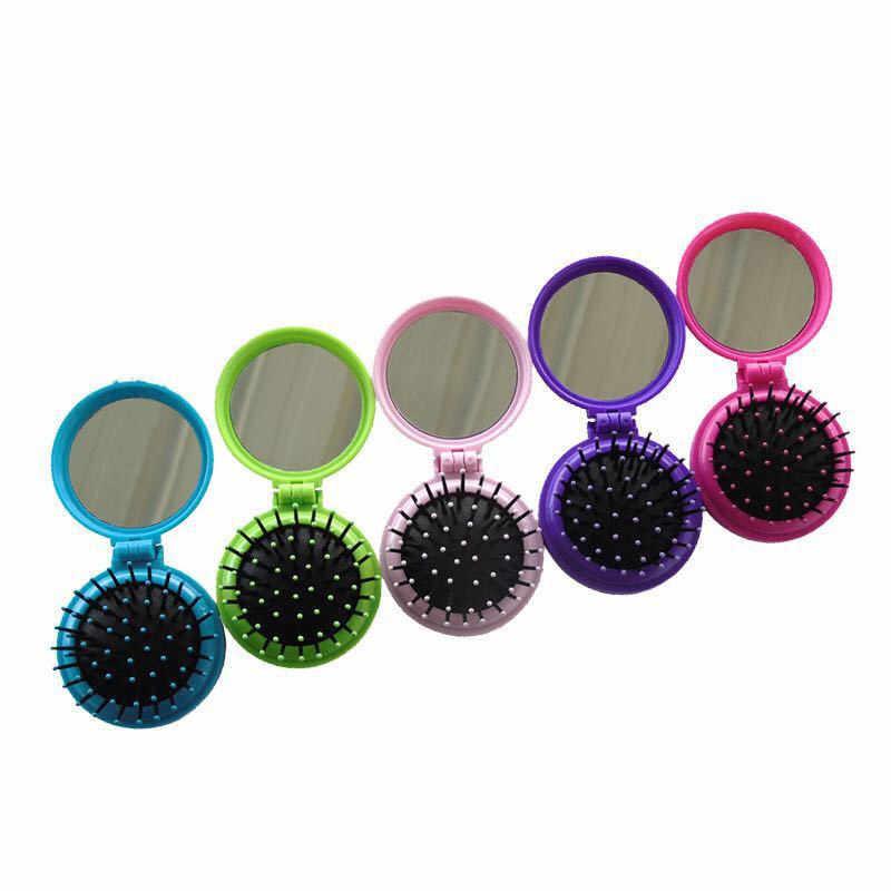 1PC Gadis Portable Mini Folding Sisir Airbag Pijat Bulat Perjalanan Cermin Sikat Rambut dengan Cermin Sisir Rambut Hairdressing Tools