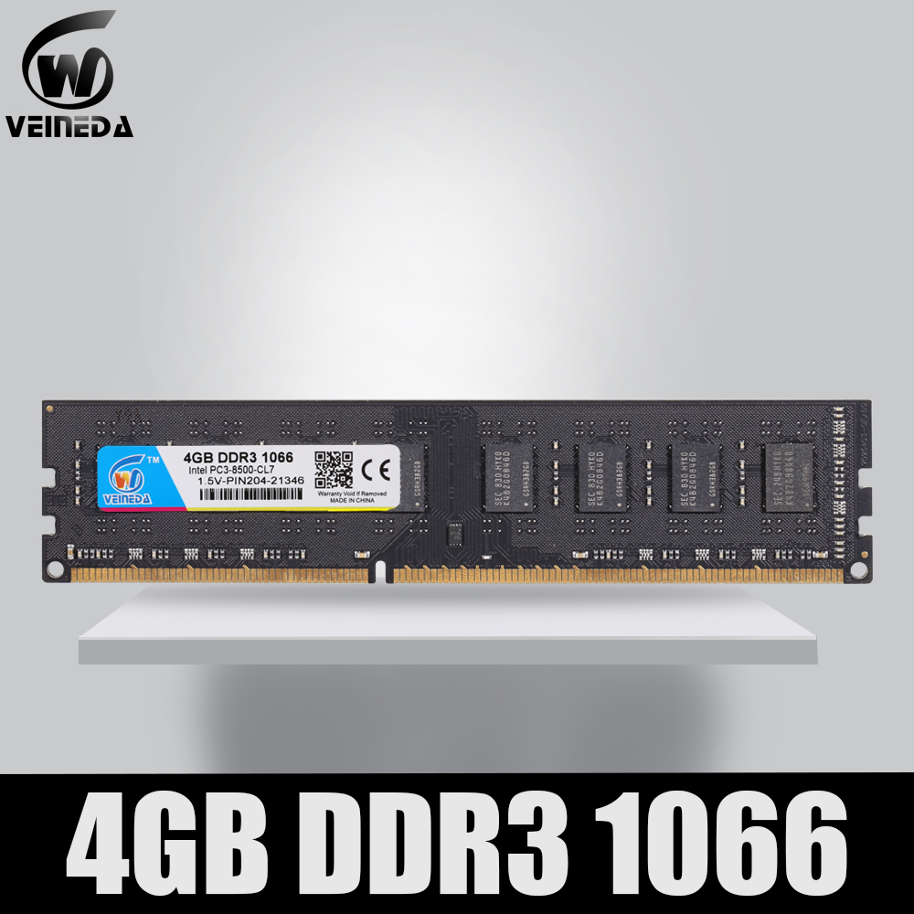 VEINEDA DDR3 4gb 1066Mhz de Memória ram ddr 3 4gb 240pin PC3-8500 Memoria compatível 1333 1600 para AMD intel Desktop