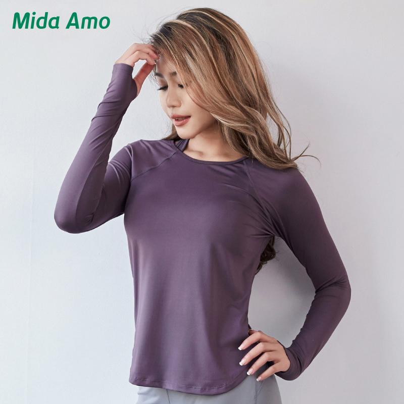 Mida Amo Womens Workout Shirts Long Sleeve Yoga Gym Running Top Compression Sportswear Fitness Quick Dry Women Running Sport Top