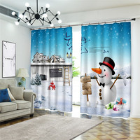 Curtains Blackout Snowman scenery 3D Window Curtains For Bedroom Modern Printing Living room Christmas happy gift Curtains