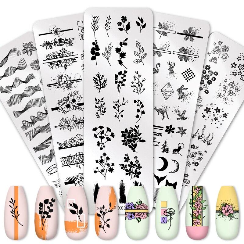 Штамповочная пластина PICT YOU для ногтей цветок лист геометрический штамп шаблон пластина для ногтей трафарет DIY печать инструменты из нержав...