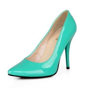 Image 3 - Zawsthia Patent Pu Lederen Vrouw Dunne Hoge Hakken Kleurrijke Geel Groen Stiletto Office Lady Pumps Schoenen Big Size 46 47 48