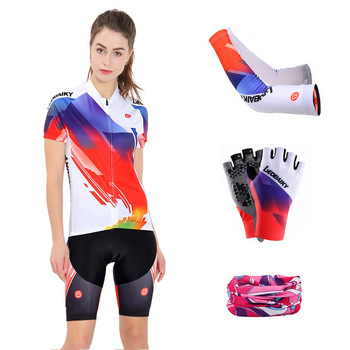 Short Sleeve Bicycle Jersey Set Women Cycling Clothing Mtb Wear Summer Racing Pro Team Mountain Bike Clothes Anti-UV Skinsuit