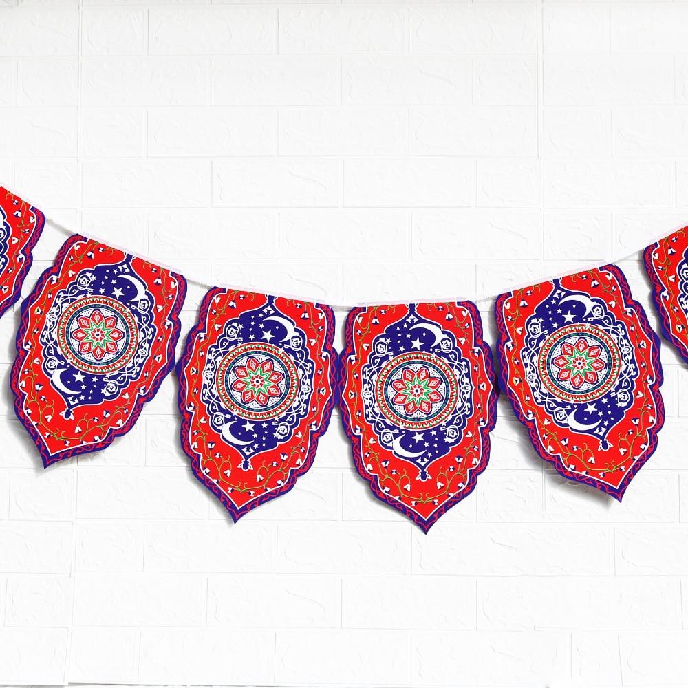 Ramadan Kareem Decoration Eid Mubarak Printed Banner Garland Islamic Muslim Home Party Favor Eid al-fitr Ramadan Mubarak Decor