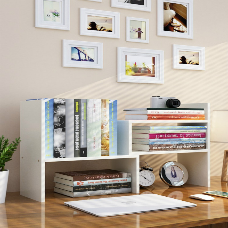 On The Desk, Students Use The Shelf Of Children's Desktop To Accommodate The Small Bookcase In The Dormitory.