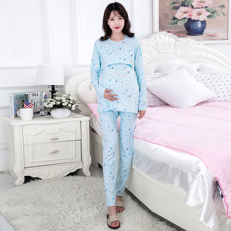 Pregnant Women Thermal Underwear Set Pure Cotton Postpartum Nursing Pajamas Confinement Clothing Autumn Winter Style Feeding Wom