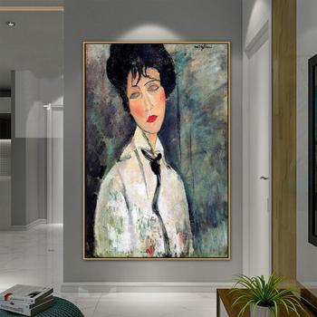 Woman Portrait Canvas Painting Poster Amedeo Modigliani Old Famous Master Artist Artwork Print for Living Room Decor Wall Art image