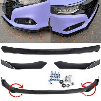 цена на 3PCS/Set Universal Black Car Front Bumper Lip Splitter Protection For Honda Benz VW Passat Front Bumper Guard Protector Cover