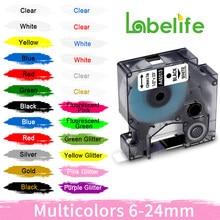 Labelife 45013 45010 1pc compatível multicolorido dymo d1 etiqueta fita 12mm 45018 40918 para dymo labelmanager maker 160 280 210 260p