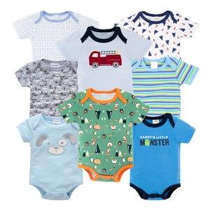 8 шт./компл. короткий рукав детские боди для новорожденных, 100% хлопковые комбинезоны для новорожденных; Одежда для мальчиков комбинезоны de ...