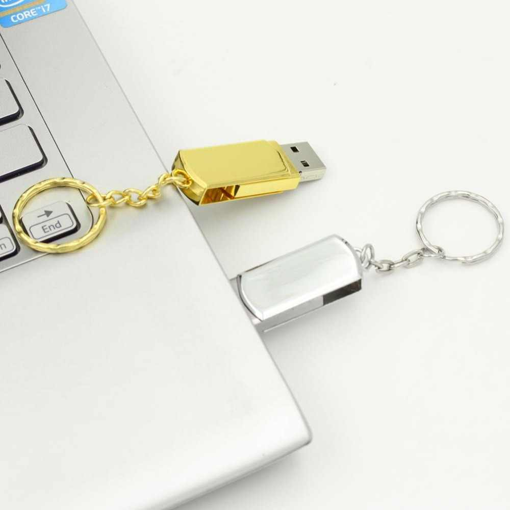 Impermeabile USB Flash Drive In Metallo Pen Drive 8GB 16GB 32GB 64GB 128GB Pendrive USB Bastone reale di 100% di Alta qualità Flash Drive Oro
