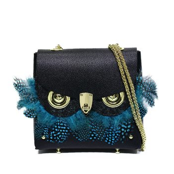 Luxury Fashion Owl Decoration Handbags for Women Genuine Leather Messenger Bags Female Classic Chain Shoulder Crossbody Bags