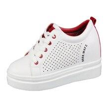 White Platform Leather Shoes Hidden Heel 10CM Wedge Sneakers