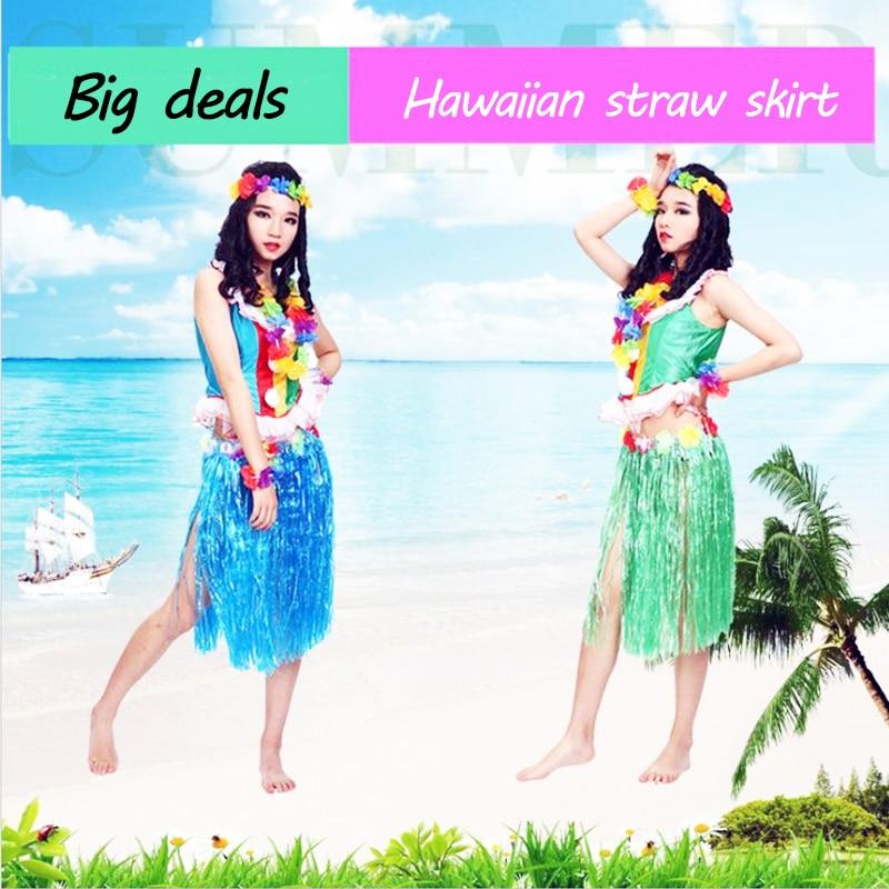 60cm plástico niñas mujer falda hawaiana Hula hierba traje flor falda Hula baile vestido fiesta Hawaii playa