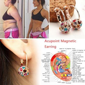 1 Pair Magnetic Slimming Earrings Body Relaxation Lose Weight Massage Slim Ear Studs