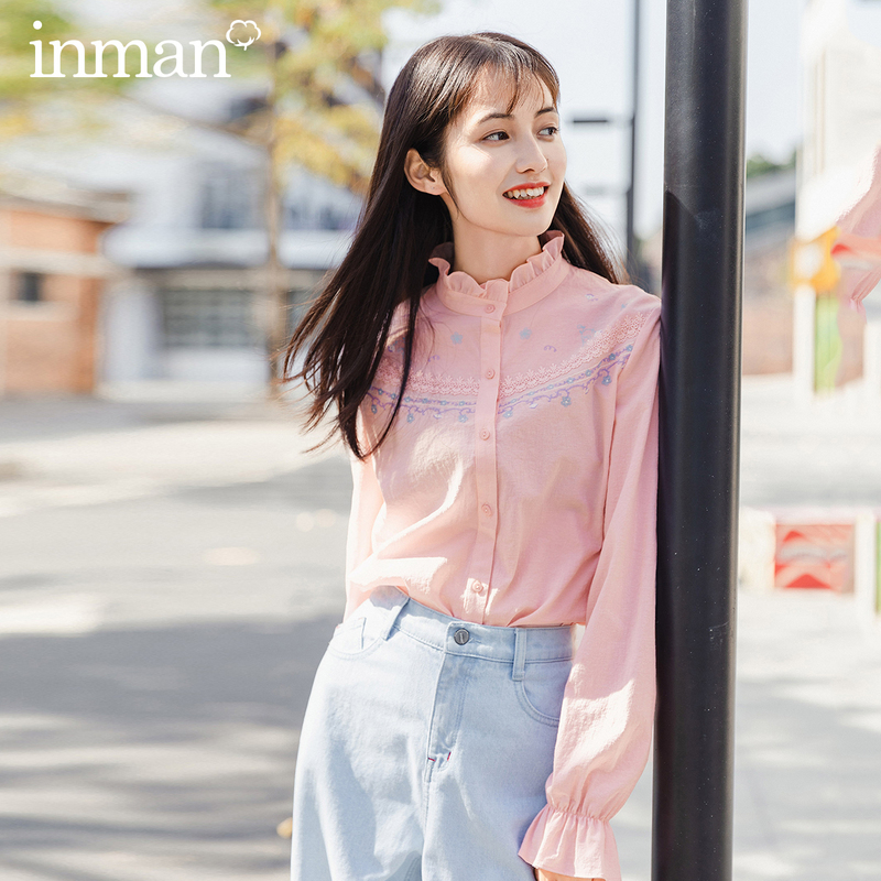 INMAN 2020 Summer New Arrival Sweet Girl Embroidery Artsy Vintage Cute Fungus Blouse