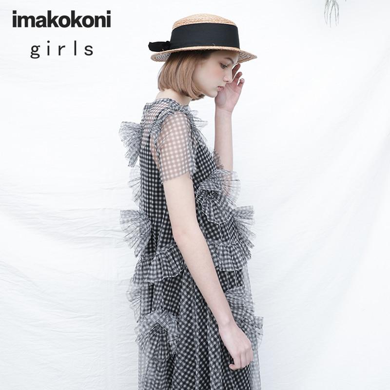 imakokoni black and white grid gauze dress original design sweet lady thin long summer girl 182303