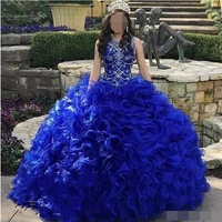 Cascading Ruffles Royal Blue Quinceanera Dresses Jewel Neck Crystal Organza Sweet 16 ball gown Vestidos 15 anos prom dresses