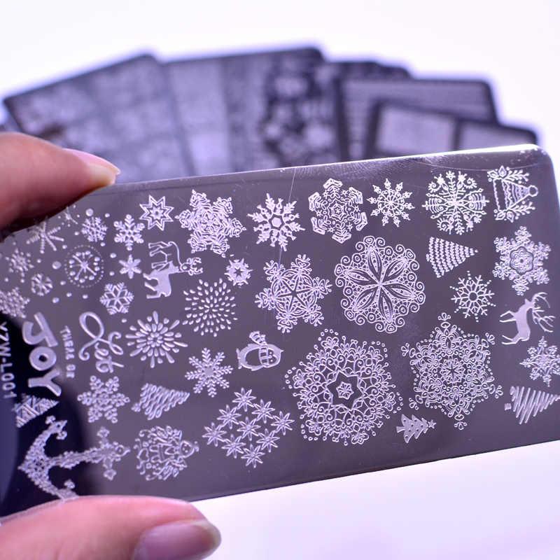 2020 การออกแบบใหม่Roseดอกไม้เล็บแสตมป์เล็บแม่แบบลูกไม้DIYเล็บเล็บภาพStencil