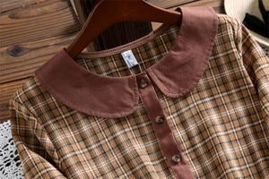 Image 2 - Милое модное клетчатое платье Mori girl, Осеннее Повседневное платье в стиле Питер Пэн с воротником и длинным рукавом для женщин