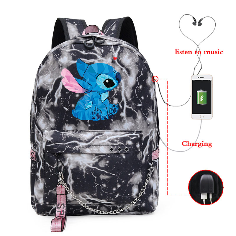 Cute Stitch Woman Backpack Usb Charging School <font><b>Bags</b></font> Bagpack Students Lady Travel Latop <font><b>Mochila</b></font> <font><b>Escolar</b></font> Girls Bookbag image
