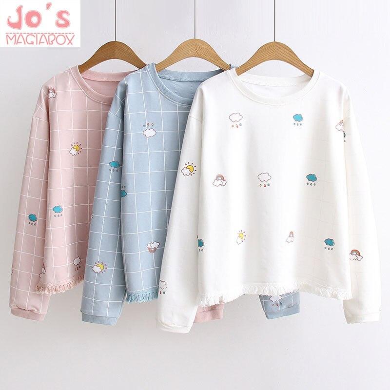Winter Womens Plaid Hoodies Sweatshirts Ladies Long Sleeve O-neck Pullovers Tops Female Harajuku Hooded Sweatshirts Cute Tops