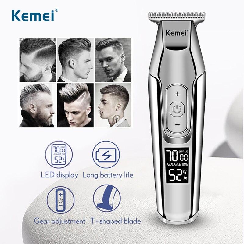 Kemei Professional Hair Clipper LCD Display 0mm Baldheaded Beard Trimmer Men's Electric Hair Cutting Machine Haircut Razor 40D