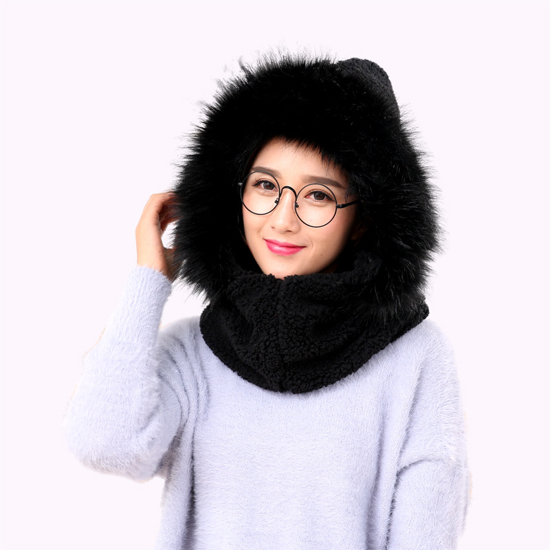 Korean-style Autumn And Winter New Style Scarf Hat Dual Use Suit Women's Plus Velvet Thick Fashion Neck Guard Pullover Hooded Sc