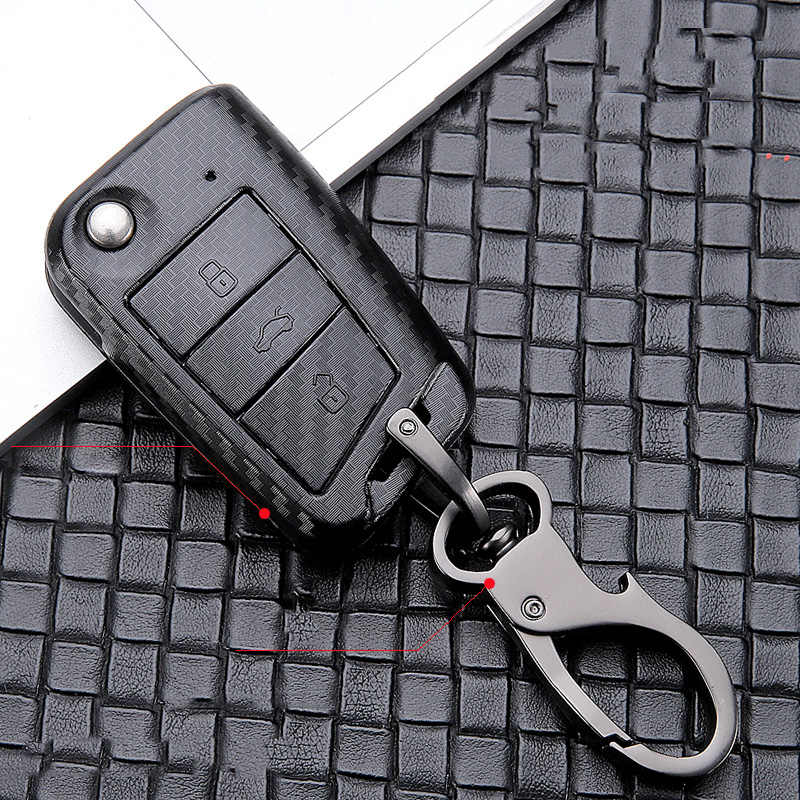 ABS fırçalama araba anahtarı kapağı VW Golf 7 için Bora Jetta POLO GOLF Passat Skoda Octavia A7 Fabia SEAT Ibiza leon MK7 anahtar koruma kılıfı