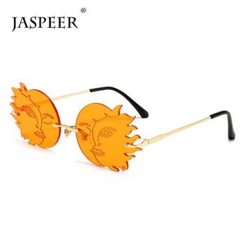 JASPEER Trendy Steampunk Sunglasses Women Luxury Brand Designer Punk Rimless Sun Glasses Men UV400 Driving Moon Sun Eyewear