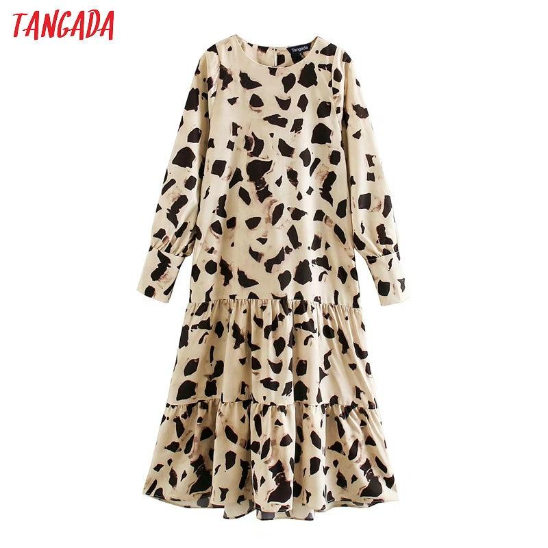 Tangada Fashion Women Print Chiffon Dress O Neck Long Sleeve Ladies Loose Midi Dress Vestidos  XN212