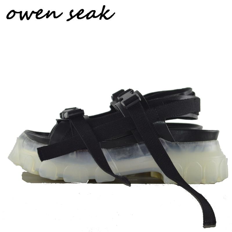 Owen Seak Men Sandals Black Casual Rome Shoes Gladiator Sandals Shoes Mules Clogs Slippers Slides Summer