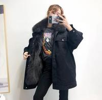 Fashion Thick Real Fur Lining Parka With Natural Fur Collar Korean Version Warm Jacket Woman Female Outwear Womens Winter Coat
