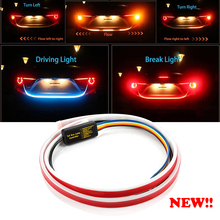 120cm 4 Mode Car Rear LED Trunk Light Strip Additional Stop Auto Turn Signal Flexible Tailgate Luggage Warnning Lamp
