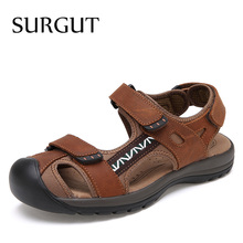 SURGUT Summer Sandals Men Genuine Leather Classic Roman Sandals 2021 Slipper Outdoor Sneaker Beach Men Water Trekking Sandals