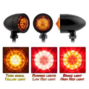 Image 2 - 1pair Motorcycle Turn Signal Indicator Lamp Light Retro Bullet Diamond Black LED Blinker Light for Moto Motorbike Motorcycle