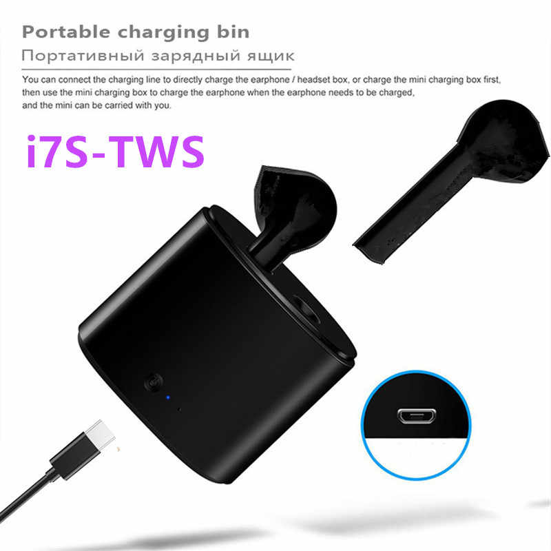 I7s جديد TWS بلوتوث V5 EDR سماعة التوائم اللاسلكية مع صندوق شحن ستيريو سماعات رياضية ميكروفون لجهاز الآيفون 7 7s s 8