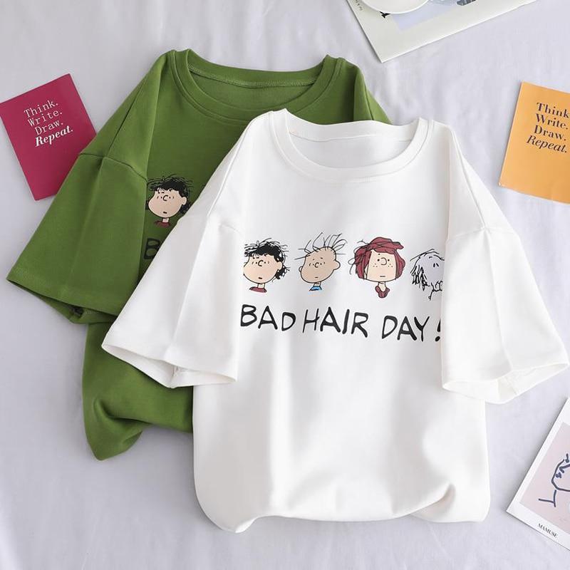 Avocado Green T-shirt Women Casual Short Sleeve Preppy Style Funny Cute Tops Women 2020 Summer Loose Plus Size Tee Shirt Femme