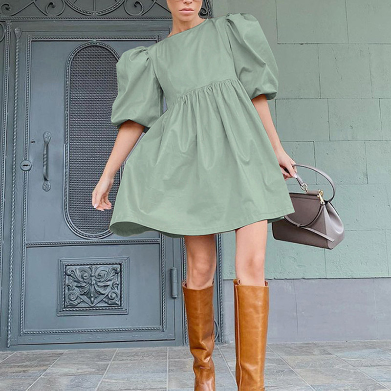Green O Neck Casual Women Dress Lantern Short Sleeve Solid Pink Mini Dress Ladies Elegant A Line Summer Dresses Cotton 2021 12