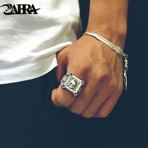 Image 1 - ZABRA регулируемый размер, искусственное серебряное кольцо с черепом для мужчин, циркониевое кольцо, Винтажное кольцо, рок, байкерское ювелирное изделие